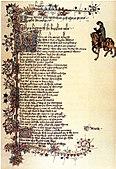 «Heere begynneth the knyghtes tale». Side frå Ellesmere-manuskriptversjonen av Geoffrey Chaucer sitt verk Canterbury Tales.
