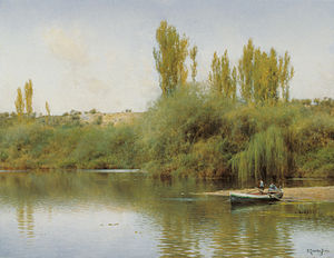 Emilio Sánchez Perrier - Image: Emilio Sánchez Perrier Bank of the Guadaira with Boat