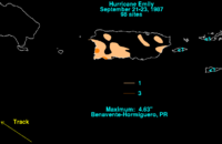 Map depicting rainfall in Puerto Rico