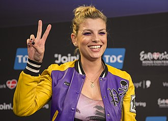 Emma Marrone - During a meeting with international press in Copenhagen (2014)