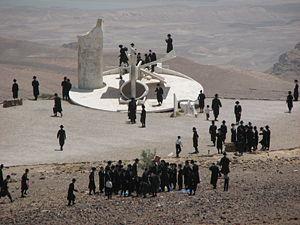 Haredi people on a visit to Arad, Israel