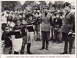 Italian Fascism - Eritrean children vow allegiance to the National Fascist Party