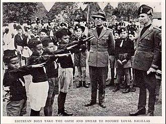 Italian Fascism - Eritrean children vow allegiance to the National Fascist Party