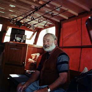 Mary Welsh Hemingway - Hemingway on his boat, Pilar, off the coast of Cuba in 1950.