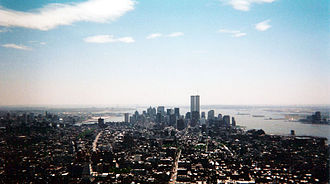 Lower Manhattan - The pre-9/11 Lower Manhattan skyline in May 2001, seen from the Empire State Building.
