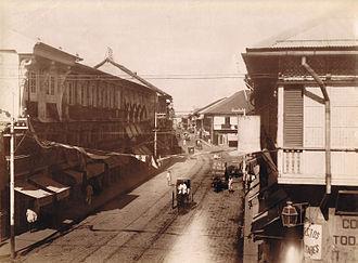 Economy of the Philippines - Calle Escolta, the economic center of 19th century Manila.