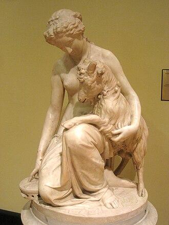 "Esmeralda (The Hunchback of Notre-Dame) - ""Esmeralda and the Goat, Djali"", 1865, by Antonio G. Rossetti (d. 1870)"