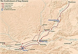 Transition from Sui to Tang - Map showing how Li Yuan established Tang Dynasty, including battles of Huoyi, Hedong and Chang'an