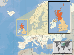 Location of  സ്കോട്ട്‌ലൻഡ്  (inset - orange) in the United Kingdom (camel) in the European continent  (white)