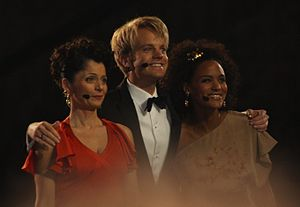 Eurovision Song Contest 2010 - Presenters of the 2010 contest, from left to right – Nadia Hasnaoui, Erik Solbakken and Haddy Jatou N'jie.