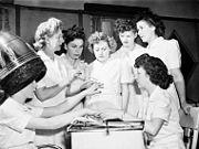 Ex-servicewomen learning manicure techniques, 1945