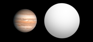 2M1207b - Size comparison of 2M1207b with Jupiter.