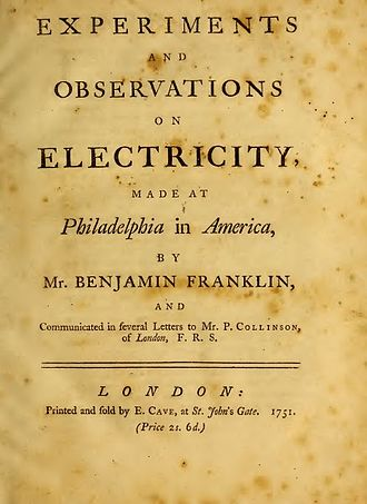 Experiments and Observations on Electricity - Title page of 1751 original publication