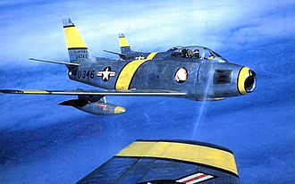 Fifth Air Force - North American F-86F-25-NH Sabres of the 4th FIW over Korea. Serial 52-5346 identifiable