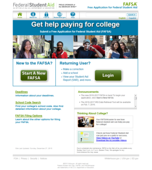 FAFSA - The official FAFSA website is FAFSA.gov.