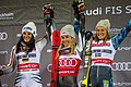FIS Alpine Skiing World Cup in Stockholm 2019 Mikaela Shiffrin - Christina Geiger and Anna Swenn Larsson 4.jpg