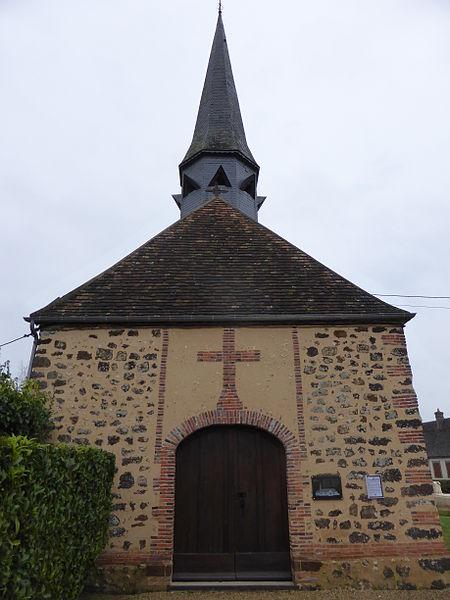 Façade de l'église Notre-Dame de Fontaine-Simon, en Eure-et-Loir.