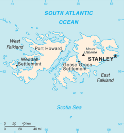 Map of the Falkland Islands showing position of Stanley.