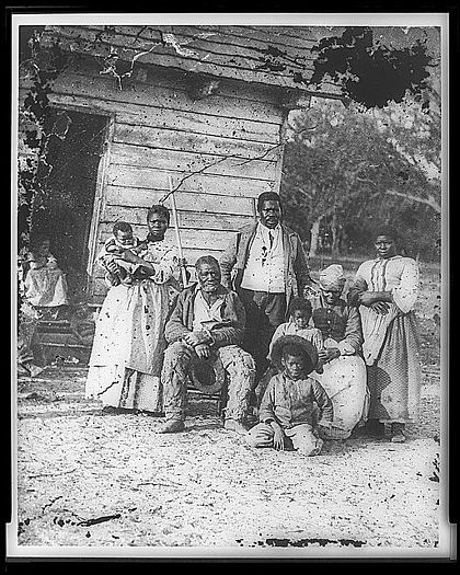 Four generations of a slave family, Smith's Plantation, Beaufort, South Carolina, 1862 Family of African American slaves on Smith's Plantation Beaufort South Carolina.jpg