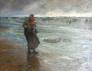 Edgard Farasyn - Fisherman's Wife with Child on the Beach (date unknown)