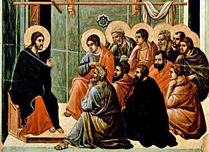New Commandment - Jesus giving the Farewell Discourse to his eleven remaining disciples after the Last Supper, from the Maesta by Duccio, c. 1310.