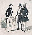"""Fashion plate of three men from """"Le Bon Ton Journal des Modes"""" Gravure de mode montrant trois hommes, tirée de la revue Le Bon Ton Journal des modes (48301610356).jpg"""