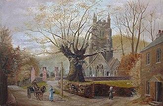 "Tamerton Foliot - ""Fatal Oak"", oil painting circa 1900 by ""S.G.M."", depicting the Copleston Oak next to St Mary's Church, Tamerton Foliot"