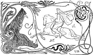 Fenrir - Fenrir and Odin (1895) by Lorenz Frølich