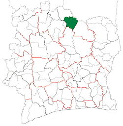 Location in Ivory Coast. Ferkessédougou Department has had these boundaries since 2012.