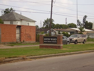 Fifth Ward, Houston - Sign indicating the Fifth Ward