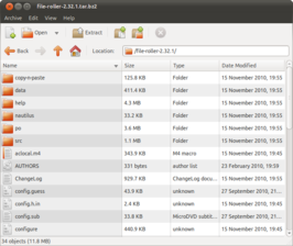 File Roller running on Ubuntu 10.10