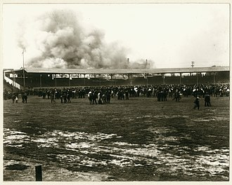 Robison Field - Fire in the grandstand at League Park (Robison Field), Vandeventer Avenue and Natural Bridge Road, May 4, 1901