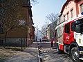 Firefighters battling a Fire at a Wooden House Mardi tn Keldrimae Tallinn 1 May 2006.jpg