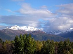First winter snowfall on the Chugach Mountains in September 2005