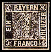 First Bavaria postage stamp 1k 1849 issue.jpg