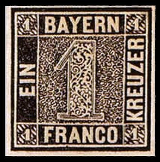 Postage stamps and postal history of Germany - Image: First Bavaria postage stamp 1k 1849 issue