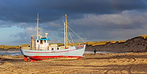 Thy (district) - The leisure fishing boat Maagen on the beach of Nørre Vorupør.