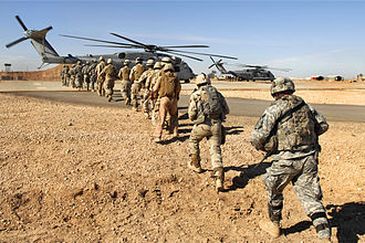 Combined operations - U.S. Army and Iraqi Army soldiers prepare for upcoming missions on Camp Ramadi, Iraq
