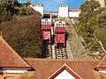 Folkestone, Leas Cliff Funicular railway, tracks and lifts.jpg
