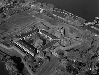 Fort Jay - Aerial view of the fortifications.