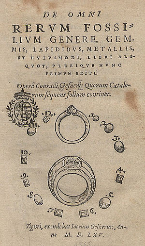 Lapidary (text) - Title page of a printed lapidary by Conrad Gessner of 1565
