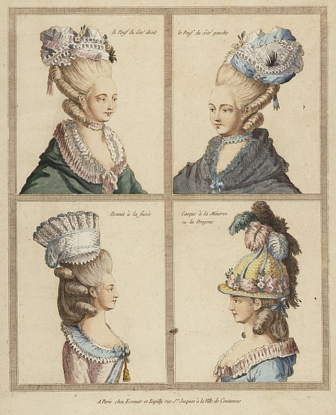 File:France, Rapilly, 18th Century Print showing Headdresses Engraving, hand-tinted gouache 11 5-8 in. X 9 3-8 in. (29.5 x 23.8 cm.) LACMA M.83.194.7.jpg