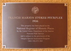 Francis Marion Stokes Fourplex - National Register of Historic Places plaque