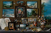 Frans Francken the Younger - The cabinet of a collector with paintings, shells, coins, fossils and flowers - 1619.jpg