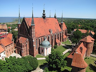 Frombork - Frombork Cathedral, with Vistula Lagoon in background.