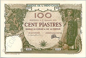 French Indochinese piastre - French Indochina 100 Piastres 1925, Haiphong Branch