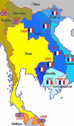 Régions indochinoises sous domination française ou britannique, avec dates. Pour la partie française: Cochinchine (1864); Cambodge (1867, 1907); Annam (1874); Tonkin (1884); Laos (1893).