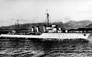 French destroyer L'Adroit - Image: French destroyer Le Fortune underway off Toulon c 1930