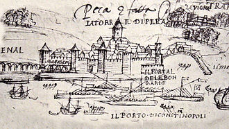 Antoine Escalin des Aimars - The five French galleys of Captain Polin in front of Pera at Constantinople in August 1544, drawn by Jérôme Maurand (detail of the above).