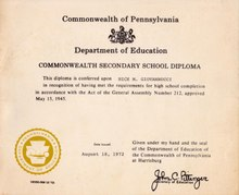 GED Diploma with Instructions - PA 1972